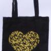 Tote bag noir coeur doré